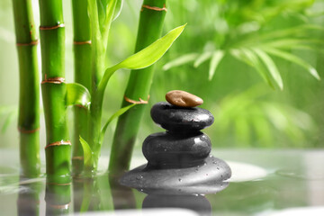 Lake with stack of spa stones and bamboo in tropical garden