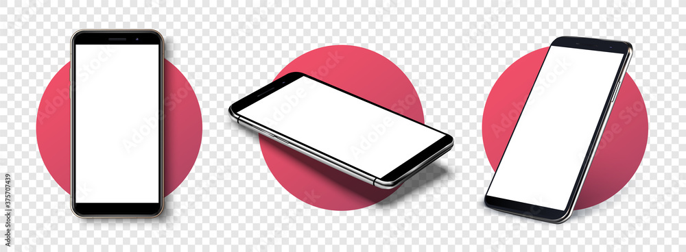 Fototapeta Smartphone frame less blank screen, rotated position. Smartphone from different angles. Mockup generic device. Vector smartphones set.Template for infographics or presentation 3D realistic phones.