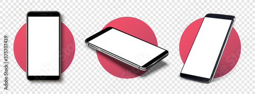 Fototapeta Smartphone frame less blank screen, rotated position. Smartphone from different angles. Mockup generic device. Vector smartphones set.Template for infographics or presentation 3D realistic phones. obraz