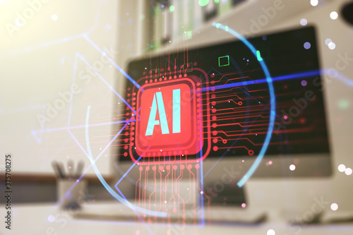 Double exposure of creative artificial Intelligence abbreviation and modern desk with computer on background Canvas Print