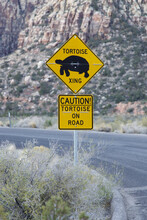 Caution Sign Warning Of Tortoise Crossing