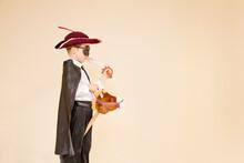 Boy In Highwayman Costume On Hobby Horse