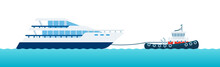 Illustration Of Tugboat Helps Motorized Yacht With Rope To Navigate Sea Vector Flat Icon Isolated