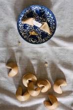 """Fortune Cookies And Message Reading """"""""love"""""""" On Table"""