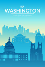 Washington Famous City Scape View Background.