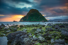 View Of Red Island Beach In Banyuwangi In Indonesia. Java Popular Travel Destination. Summer Holiday Background.