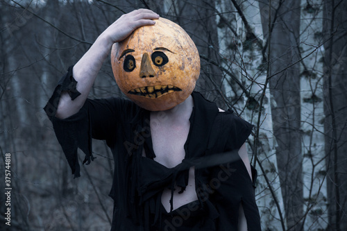 Fotografie, Obraz Lost in the woods a guy in a pumpkin with a lantern  wanders in search of a mean