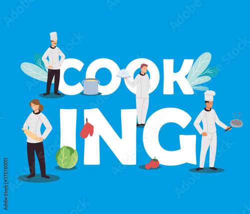 Fototapeta chefs team with kitchen elements obraz