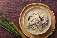 Local Thai Food, Fermented Bamboo Shoot Spicy Soup With Pork, Top View