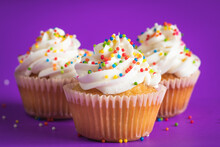 Cupcake With White Frosting And Sprinkles