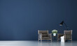 Leinwanddruck Bild - The beautiful Modern cozy mock up interior design of living room and blue texture wall background