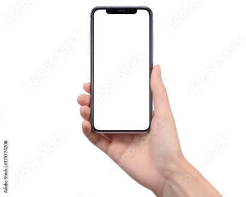 Fototapeta スマートフォンを持つ手(右手)の画像合成用素材