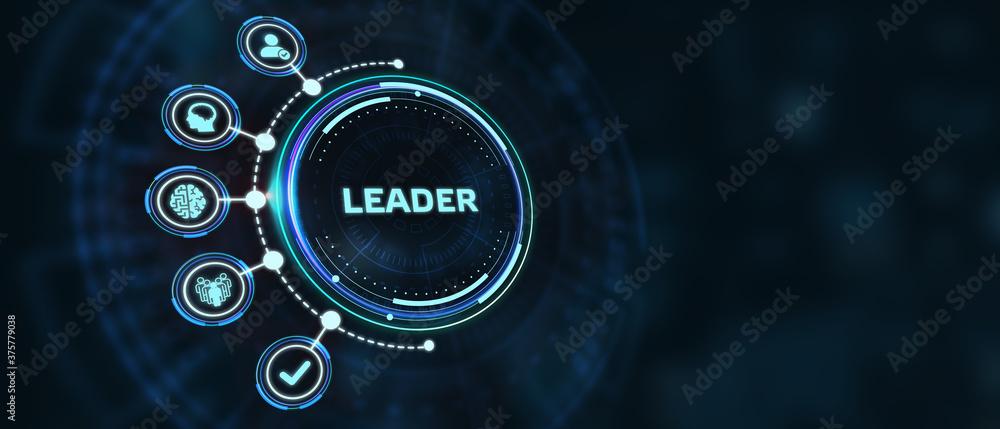 Fototapeta Successful team leader.  Business leadership concepts. A successful team leader is a manager market leader.