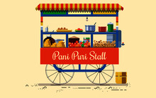 Indian Cities Illustrator Pani Puri Stall In Vector