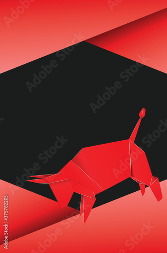 Fototapeta Red origami bull