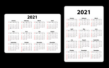 Two Pocket Calendar On 2021 Year. Horizontal And Vertical. Week Starts From Sunday. Vector Template Calendar For Business On Black Background.