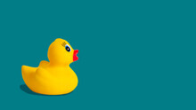 Yellow Rubber Duck On A Blue Background