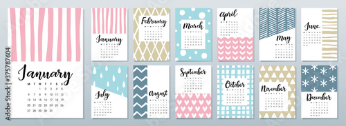 Fotografie, Obraz 2020 calendar with calligraphy lettering on colorful pattern background
