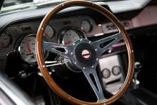 Steering Wheel Of A 1965 Retro Vintage Car