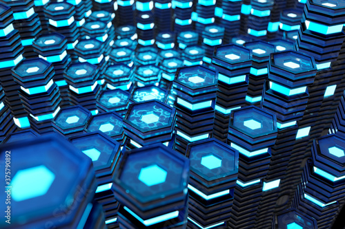 Metallic black and blue glowing hexagons moving pillars background 3D rendering Canvas