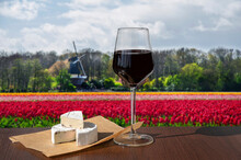 Glass Of Red Wine With Brie Ch...
