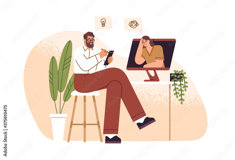 Fototapeta Male psychologist consulting female patient online vector flat illustration. Psychoanalyst sitting in front of computer and making notes isolated. Psychology aid to woman with mental disorder