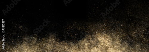 Gold glitter powder splash on black background Canvas