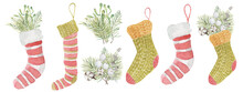 Watercolor Christmas Sock With...