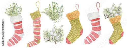 Fotografering Watercolor Christmas sock with mistletoe and pine  branches