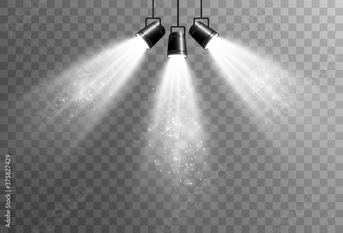 Obraz Collection of spotlights on a transparent background. Lighting equipment for highlighting various events and places. - fototapety do salonu