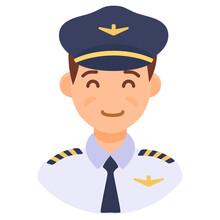Male Pilot Wearing Cap, Profe...