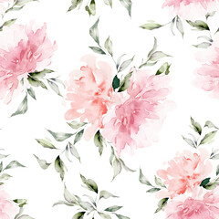 Fototapeta Do sypialni Seamless summer pattern with watercolor flowers handmade.