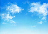 Vector illustration of blue sky in daytime. Hand painted watercolor background.