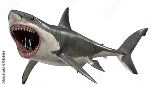 Photo 3d rendered great white shark