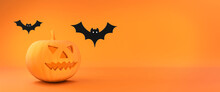 Halloween Flat 3d Background. ...