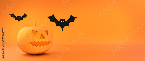 Halloween flat 3d background. Orange illustration for autumn celebration of halloween. Pumpkin and bats. 3D rendering.
