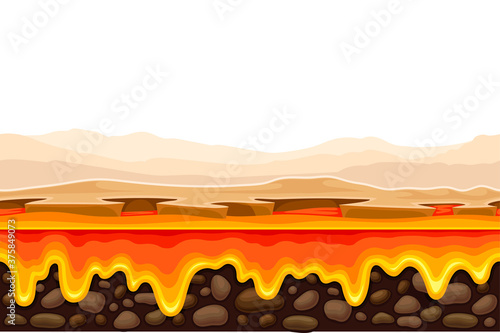 Game Platform with Uneven Terrain and Environment Vector Illustration Fotobehang