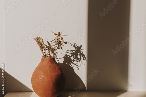 Photo Red handmade clay flower pot with dry wheat / rye bouquet in sunlight shadows on white background