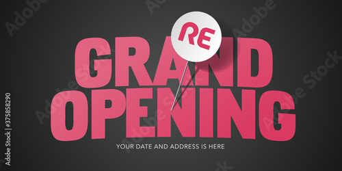 Grand opening or re opening vector background with pin Canvas Print