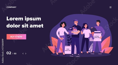 Photo Happy volunteers donating clothes and food for charity flat vector illustration