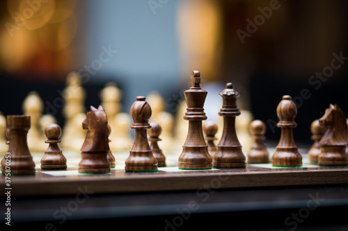 Chessboard with pawns and great depth of field Canvas Print