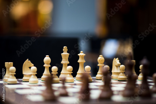 Chessboard with pawns and great depth of field Wallpaper Mural