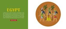 Egypt Travel Banner, Architecture Design Culture, Ancient Egyptian Landmark, Famous History, Cartoon Style Vector Illustration. Desert Pharaoh Building, Pictured Poster Pyramid, Landscape Element.