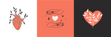Vector Abstract Logo Design Template In Simple Linear Style - Hands Gesture, Love And Friendship Concepts - Tattoo And Sticker Design Element. Valentine's Day Greeting Card In Minimal Style