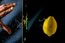Close-up. Object Shooting. Lemon In Water