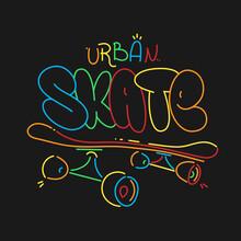 Skate Board Typography Print, T-shirt Graphics. Vector Urban Skateboarding Tee.