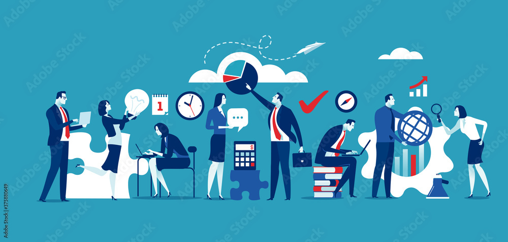 Fototapeta Team cooperation concept. Large group wide format. Business vector illustration. .