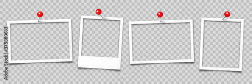 Realistic empty photo card frame, film set Fotobehang