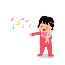 Asian Baby Girl Singing While Holding A Puppet. Toddler Nursery Song. Parenting Kindergarten Clip Art. Flat Vector Isolated On White Background