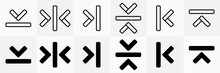 Align Arrow Simple Flat Black And White Icon Vector Set
